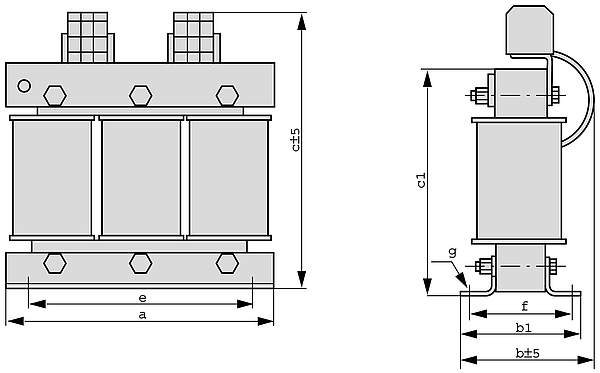 D4TB, D4TF grafic - Three-phase transformer with 4% uk