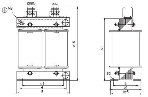 ET, ETF graphic 3 - Single-phase matching transformer