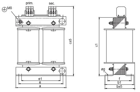 ET, ETF graphic 4 - Single-phase matching transformer