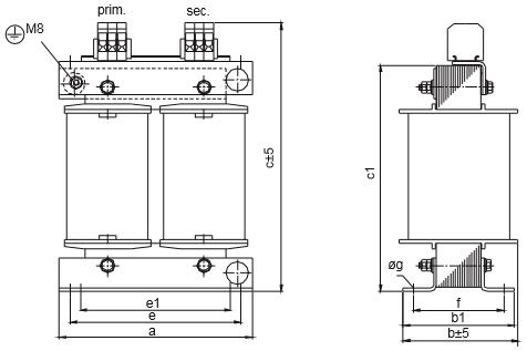 ETSP, ETFSP graphic 4 - Single-phase autotransformer